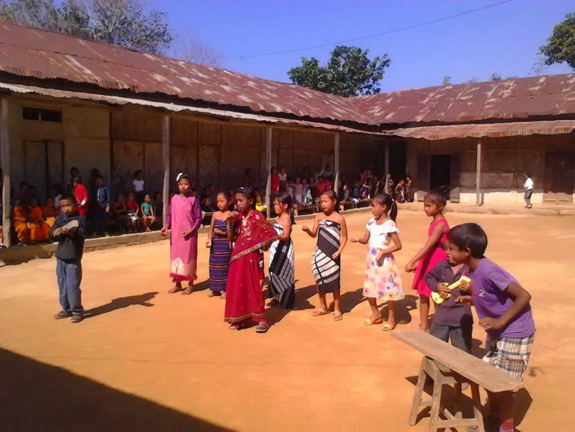 Sponsored children in Saiphai, NE India performing a traditional dance