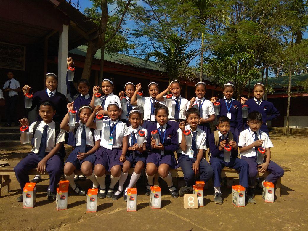 School Kids with solar lantners